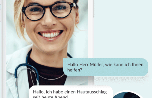 Chat-Darstellung der Teleclinic-App