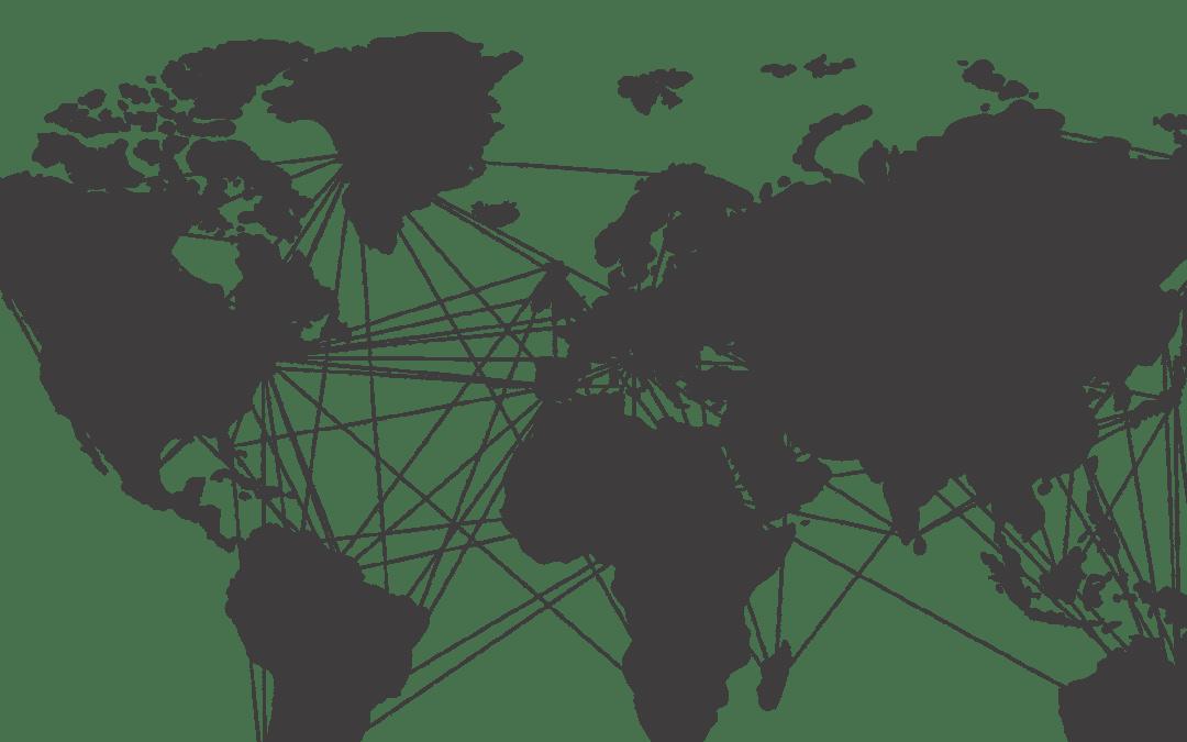 Weltkarte mit Reiseverbindungen